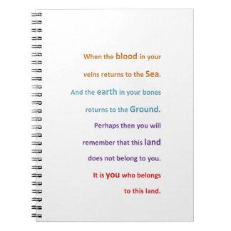 NATIVE Spiritual Wisdom - You belong to the LAND Notebook