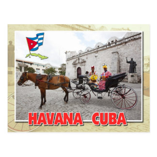 Natives in costume in carriage, Havana, Cuba Postcard