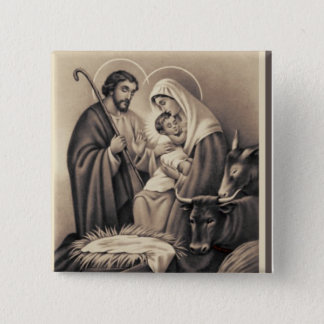Nativity 15 Cm Square Badge