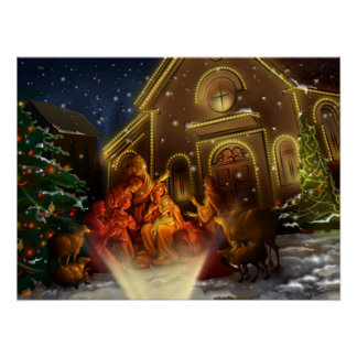 Nativity and Church - The Birth of Christ Poster