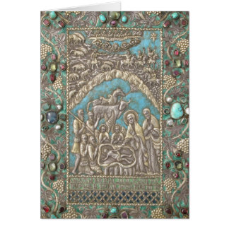 Nativity Antique Silver Turquoise Gems Card