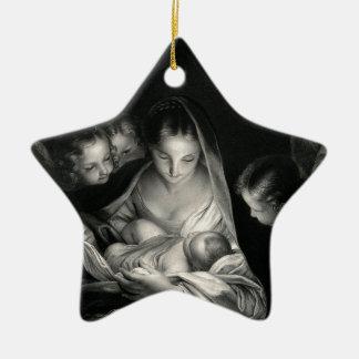 Nativity Baby Jesus Virgin Mary Angels Black White Ceramic Star Decoration