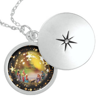 Nativity Baby Jesus Virgin Mary Crib Add Text Sterling Silver Necklace