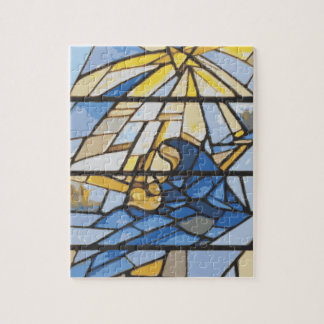 Nativity Blues Stained Glass Jigsaw Puzzle