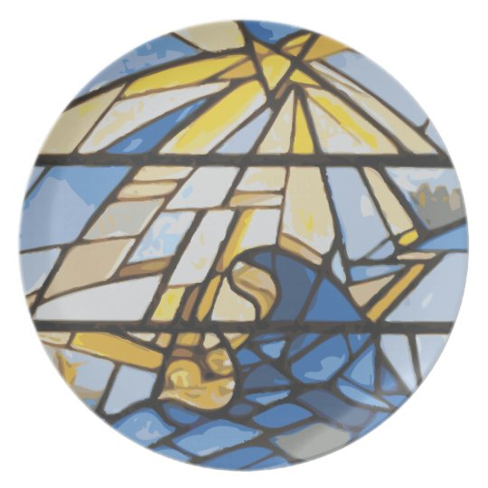 Nativity Blues Stained Glass Plate