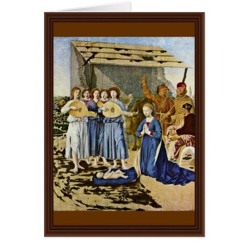 Nativity By Piero Della Francesca (Best Quality) Greeting Cards
