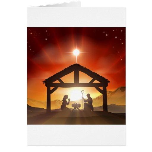 Nativity Christian Christmas Scene Greeting Card