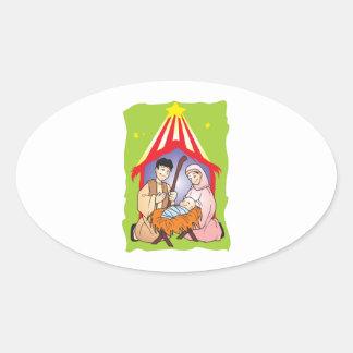 Nativity Christmas Birth of Jesus Christ Stamps Oval Sticker