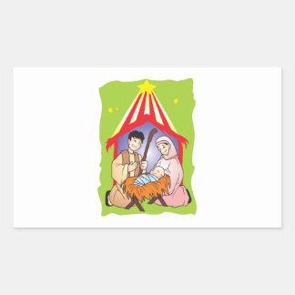 Nativity Christmas Birth of Jesus Christ Stamps Rectangular Sticker