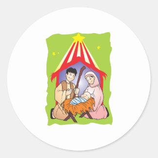 Nativity Christmas Birth of Jesus Christ Stamps Round Sticker