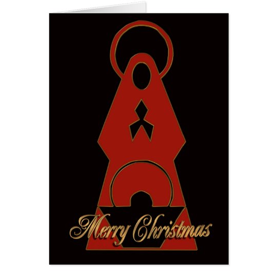 Nativity Christmas card Modern design red black