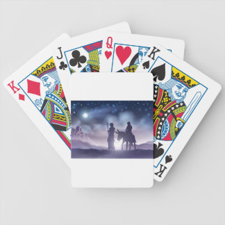 Nativity Christmas Illustration Mary and Joseph Bicycle Playing Cards