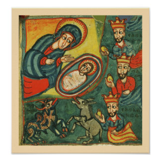 NATIVITY CHRISTMAS PARCHMENT ,ADORATION OF MAGI POSTER