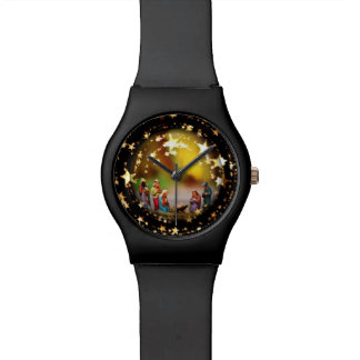 Nativity Crib Virgin Mary Jesus Christmas Stars Watch