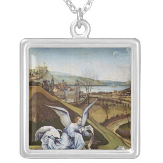 Nativity, detail of the landscape silver plated necklace