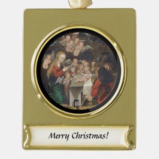 Nativity Featuring Cherubs Gold Plated Banner Ornament