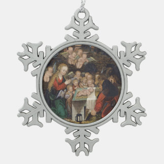 Nativity Featuring Cherubs Pewter Snowflake Decoration