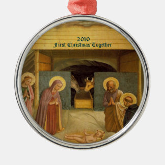 Nativity First Christmas Together Dated Custom Christmas Ornament