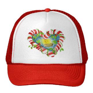 Nativity in Candy Cane Heart Cap