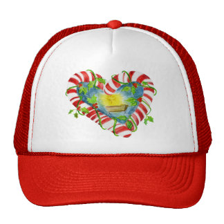 Nativity in Candy Cane Heart Trucker Hat