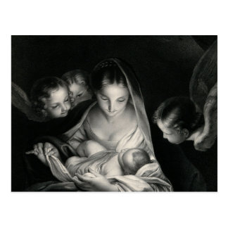 Nativity Jesus Virgin Mary Angels Black White Postcard