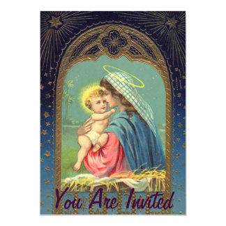 Nativity Mary Holding The Baby Jesus 13 Cm X 18 Cm Invitation Card