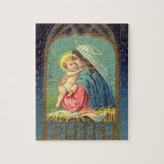 Nativity Mary Holding The Baby Jesus Jigsaw Puzzle