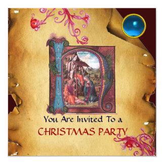NATIVITY MONOGRAM CHRISTMAS PARCHMENT Blue Gem 13 Cm X 13 Cm Square Invitation Card