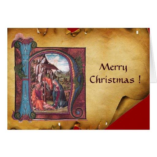 NATIVITY MONOGRAM CHRISTMAS PARCHMENT CARDS