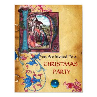 NATIVITY MONOGRAM FLORAL CHRISTMAS PARCHMENT 11 CM X 14 CM INVITATION CARD