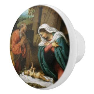 Nativity of Christ Ceramic Knob
