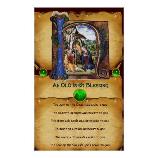 NATIVITY Old Irish Christmas Blessing Parchment Posters
