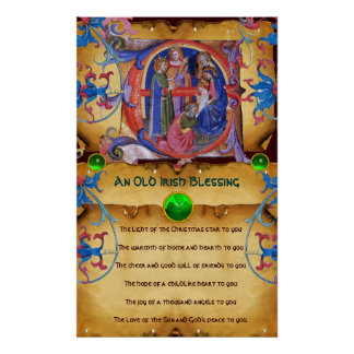 NATIVITY Old Irish Christmas Blessing Parchment Print