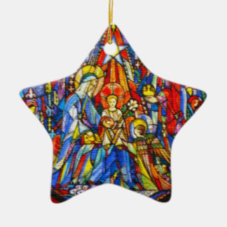Nativity Painted Stained Glass Style Christmas Ornament