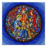 Nativity Painted Stained Glass Style Poster