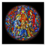 Nativity Painted Stained Glass Style Print