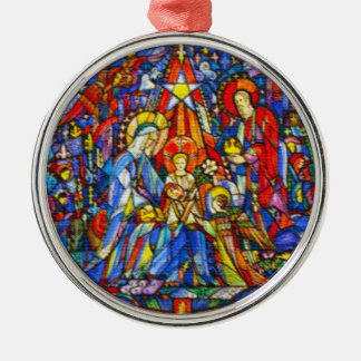 Nativity Painted Stained Glass Style Silver-Colored Round Decoration