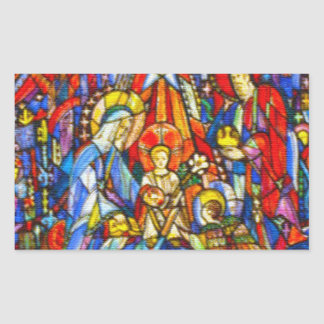 Nativity Painted Stained Glass Style Rectangular Sticker