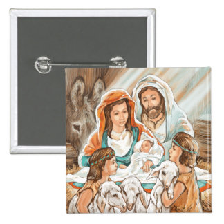 Nativity Painting with Little Shepherd Boys 15 Cm Square Badge