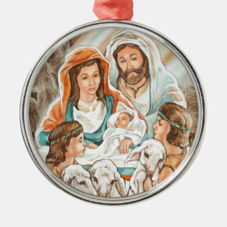 Nativity Painting with Little Shepherd Boys Christmas Ornament