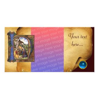NATIVITY PARCHMENT Blue Sapphire Monogram Customized Photo Card