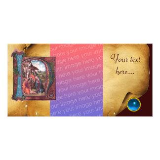 NATIVITY PARCHMENT Blue Sapphire Monogram Personalized Photo Card