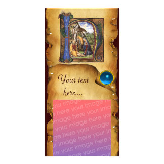 NATIVITY PARCHMENT Blue Sapphire Monogram Personalized Photo Card