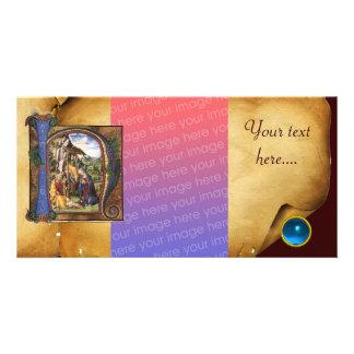 NATIVITY PARCHMENT Blue Sapphire Monogram Photo Cards