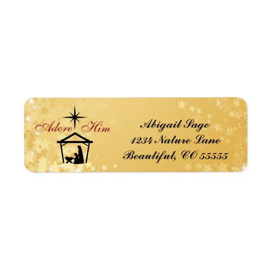 Nativity Scene Adore Him Return Address Labels
