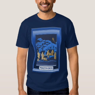 Nativity scene, blue shirts