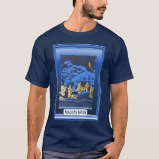Nativity scene, blue T-Shirt