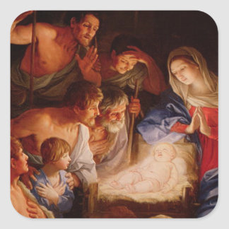 Nativity Scene Gifts for Christmas Square Sticker