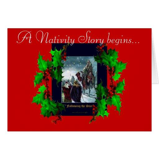 Nativity Scene & Holly Branches Christmas Card