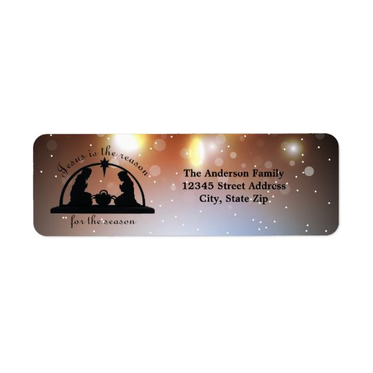 Nativity Scene Lights - Return Address Label